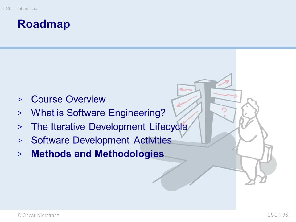 © Oscar Nierstrasz ESE — Introduction ESE 1.36 Roadmap  Course Overview  What is Software Engineering.