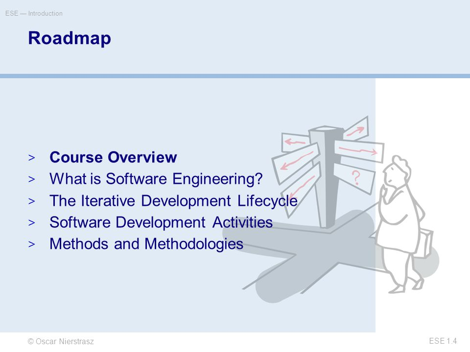 © Oscar Nierstrasz ESE — Introduction ESE 1.4 Roadmap  Course Overview  What is Software Engineering.
