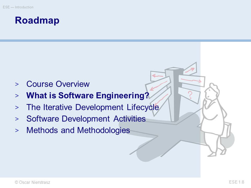 © Oscar Nierstrasz ESE — Introduction ESE 1.8 Roadmap  Course Overview  What is Software Engineering.