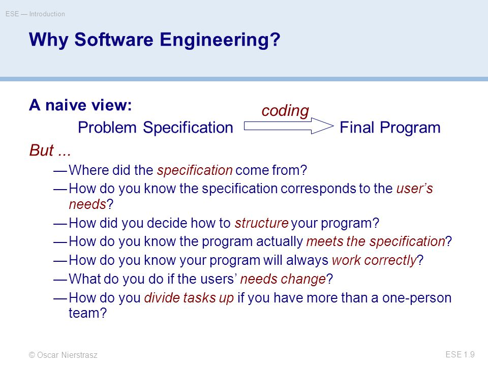 © Oscar Nierstrasz ESE — Introduction ESE 1.9 Why Software Engineering.