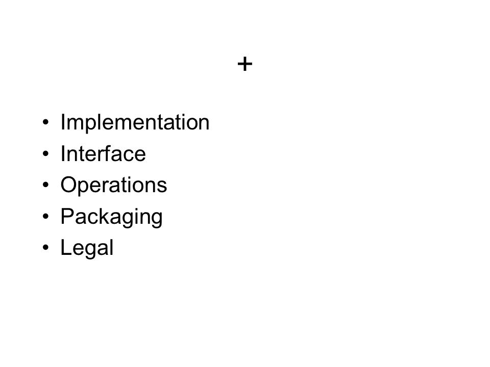 + Implementation Interface Operations Packaging Legal