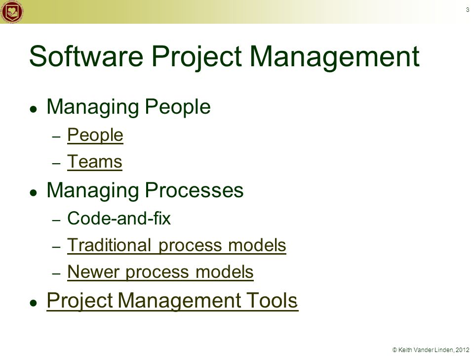 3 Software Project Management ● Managing People – People People – Teams Teams ● Managing Processes – Code-and-fix – Traditional process models Traditional process models – Newer process models Newer process models ● Project Management Tools Project Management Tools