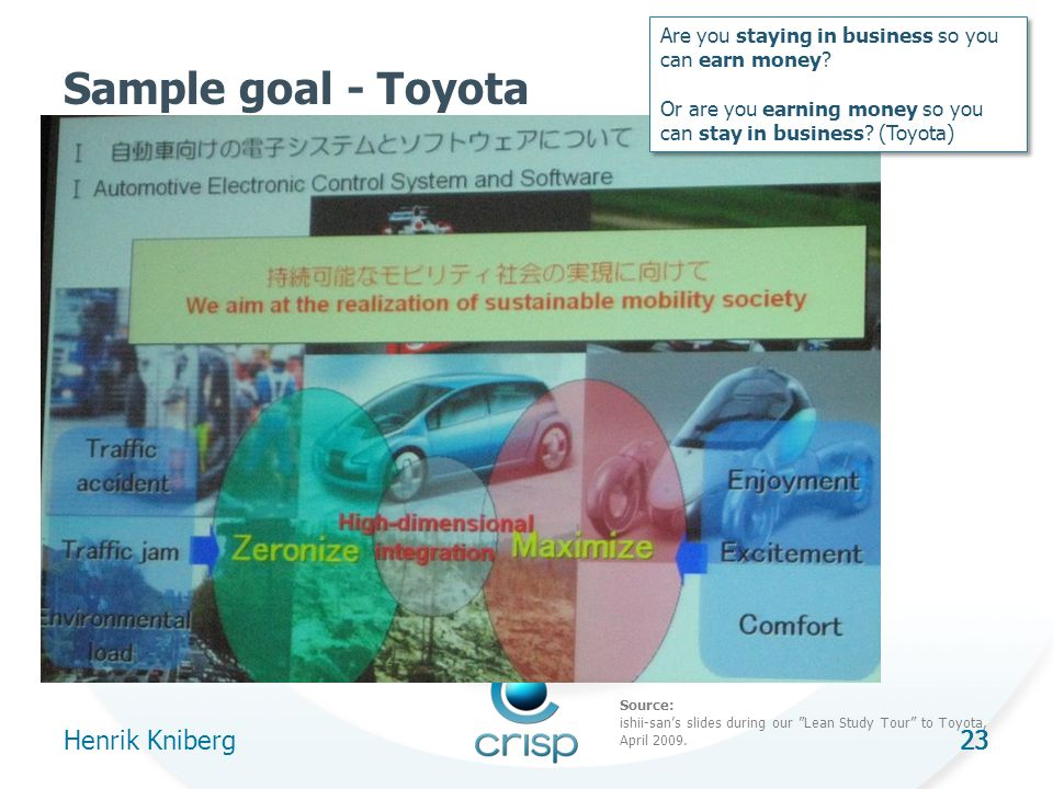 23 Sample goal - Toyota Henrik Kniberg 23 Are you staying in business so you can earn money.