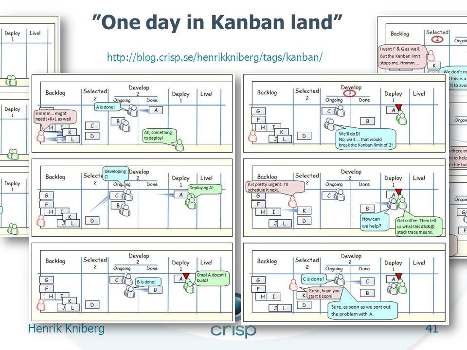 41 One day in Kanban land Henrik Kniberg 41 http://blog.crisp.se/henrikkniberg/tags/kanban/