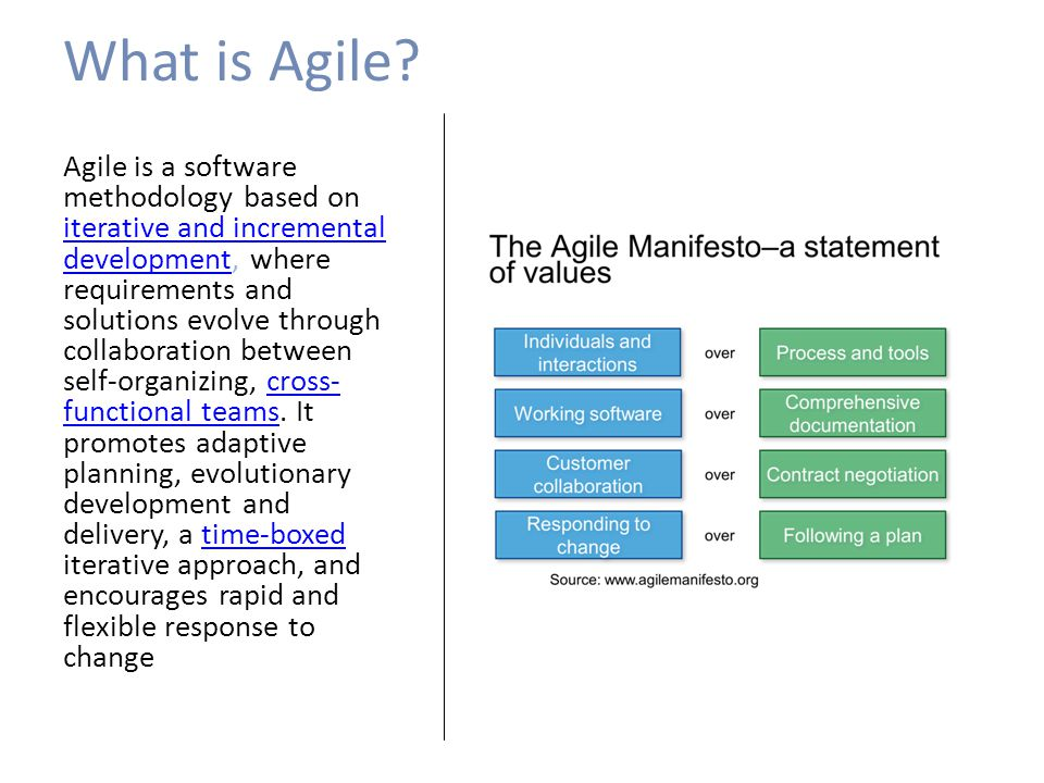 What is Agile? Agile is a software methodology based on iterative and incremental development, where requirements and solutions evolve through collabo