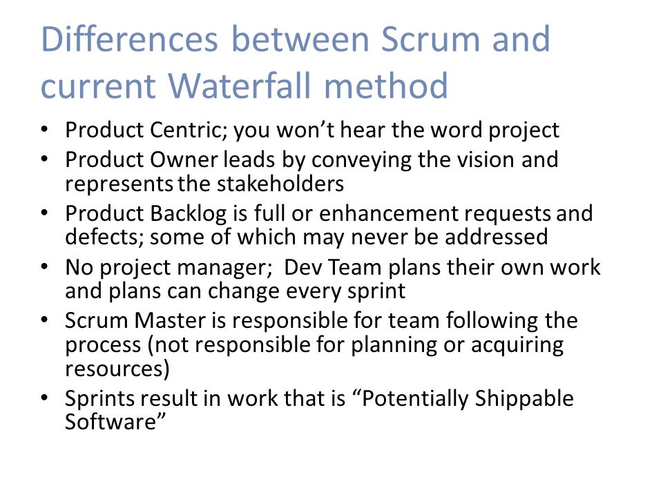 Scrum in real life Need premise buy-in: – Some things sooner better than everything later – 90% accurate in 1 month better than 100% in 3 Product owner is critical Resource intense Refactoring part of the process Reporting entirely different Get developers involved in stories early