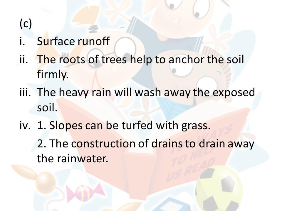 (b) i.Chemical weathering (hydrolysis). ii.1. High rainfall 2.
