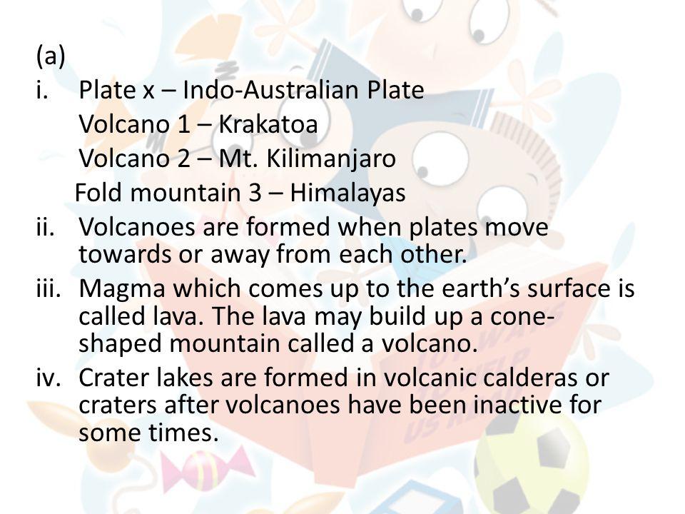 (a) i.Plate x – Indo-Australian Plate Volcano 1 – Krakatoa Volcano 2 – Mt.