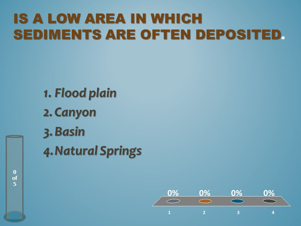 IS A LOW AREA IN WHICH SEDIMENTS ARE OFTEN DEPOSITED IS A LOW AREA IN WHICH SEDIMENTS ARE OFTEN DEPOSITED.