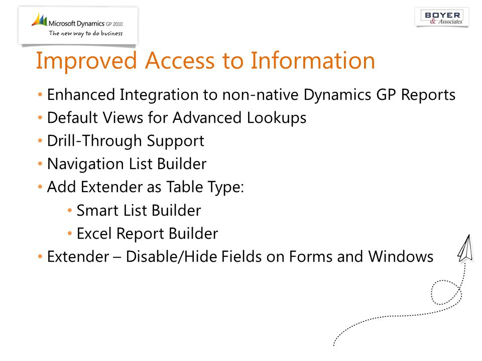 Improved Access to Information Enhanced Integration to non-native Dynamics GP Reports Default Views for Advanced Lookups Drill-Through Support Navigat
