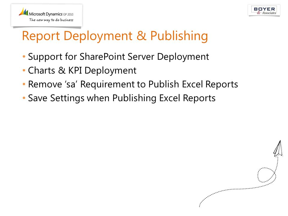 Report Deployment & Publishing Support for SharePoint Server Deployment Charts & KPI Deployment Remove 'sa' Requirement to Publish Excel Reports Save