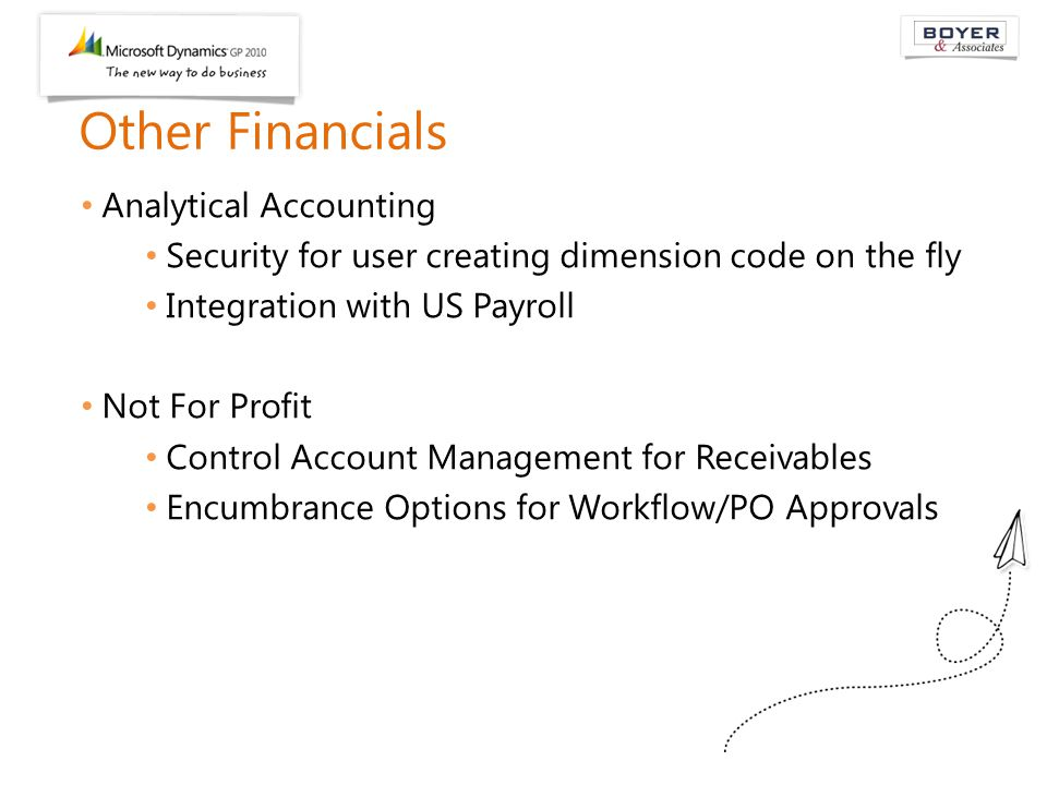 Other Financials Analytical Accounting Security for user creating dimension code on the fly Integration with US Payroll Not For Profit Control Account
