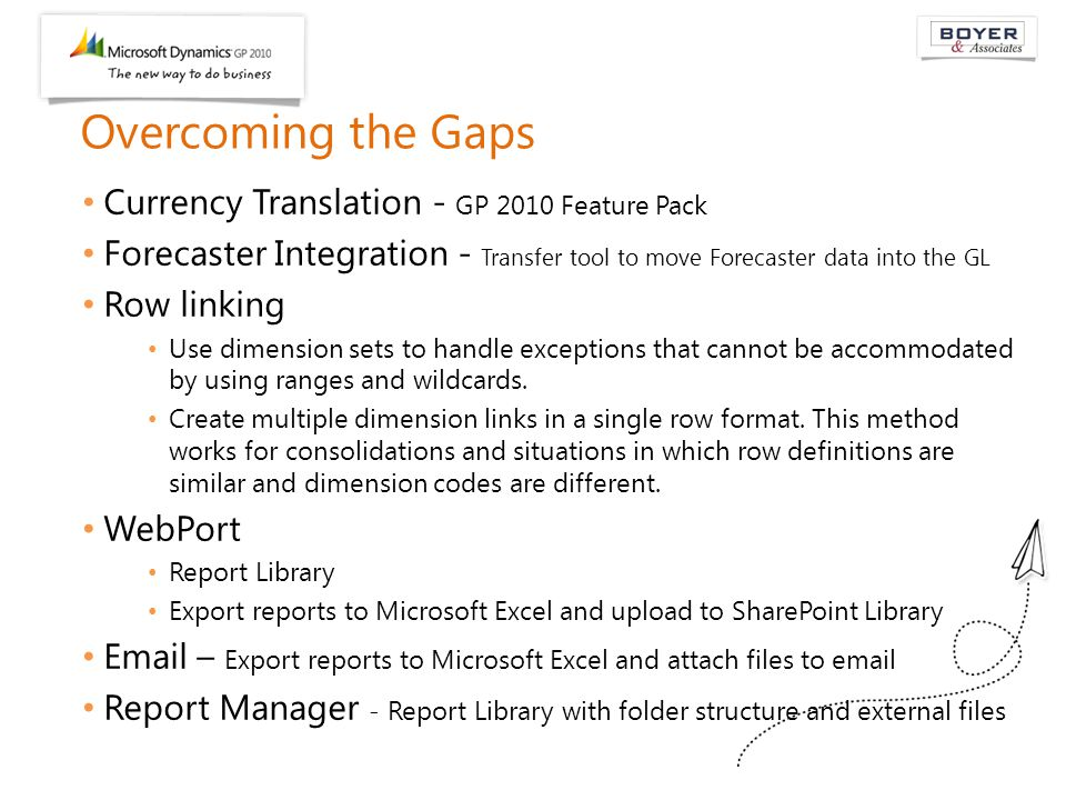 Overcoming the Gaps Currency Translation - GP 2010 Feature Pack Forecaster Integration - Transfer tool to move Forecaster data into the GL Row linking