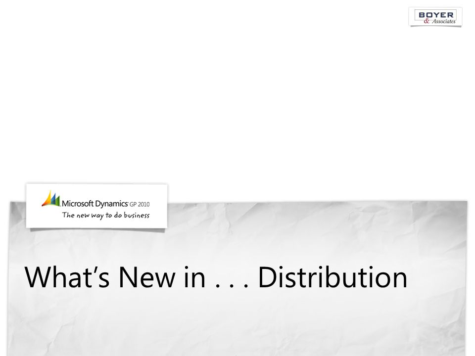 What's New in... Distribution