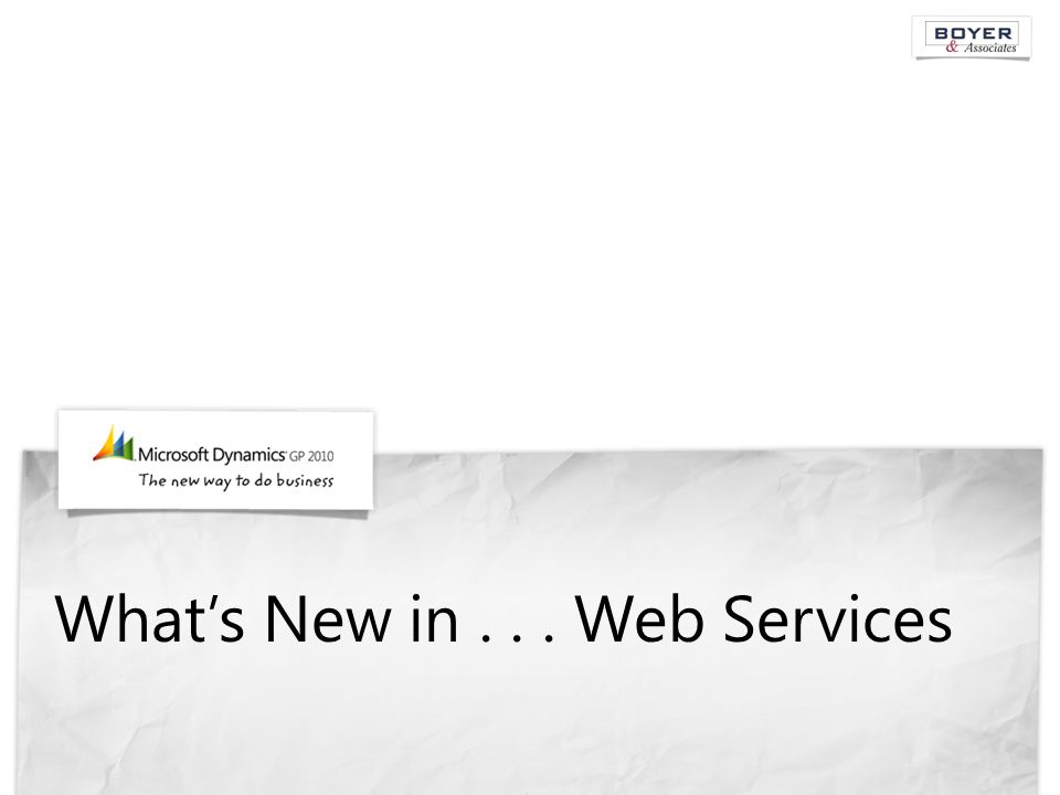 What's New in... Web Services