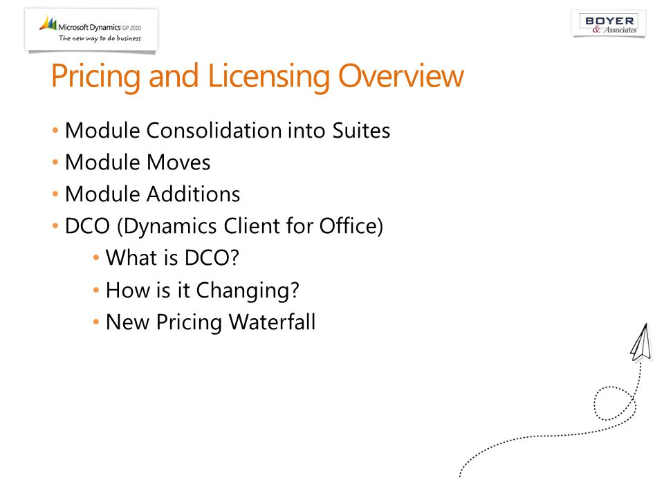 Pricing and Licensing Overview Module Consolidation into Suites Module Moves Module Additions DCO (Dynamics Client for Office) What is DCO? How is it