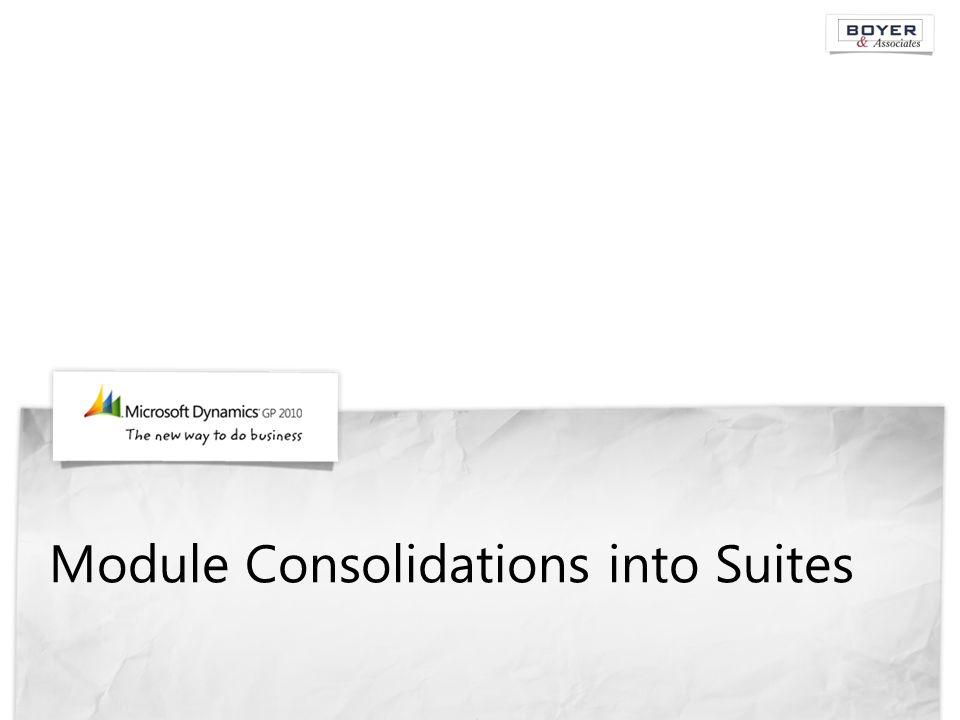 Module Consolidations into Suites