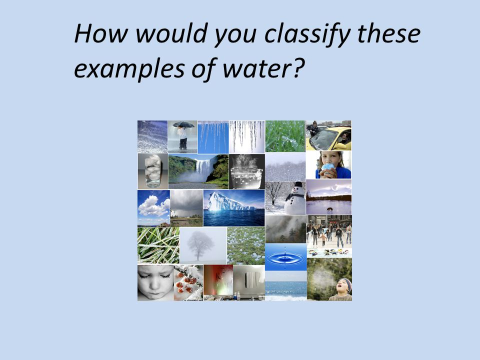 How would you classify these examples of water