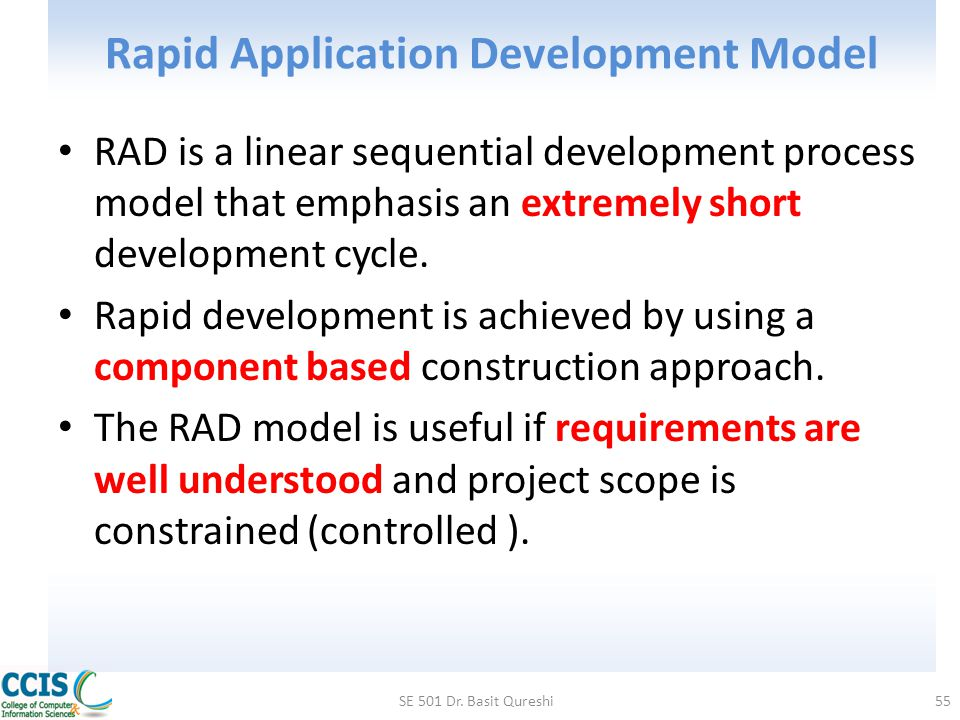 Rapid Application Development Model RAD is a linear sequential development process model that emphasis an extremely short development cycle. Rapid dev