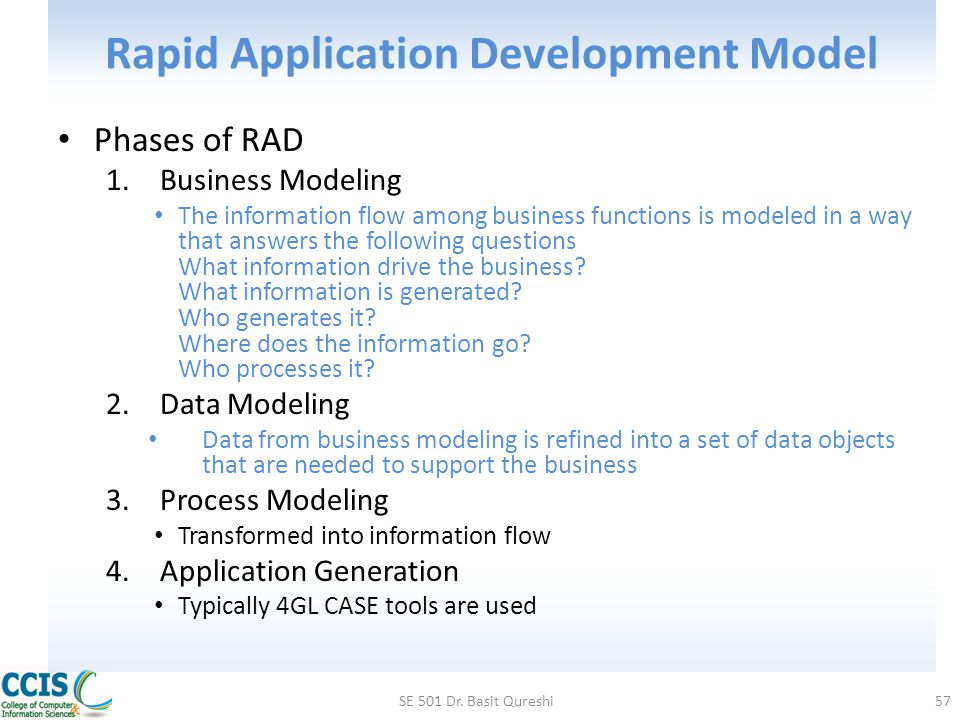 Rapid Application Development Model Phases of RAD 1.Business Modeling The information flow among business functions is modeled in a way that answers t