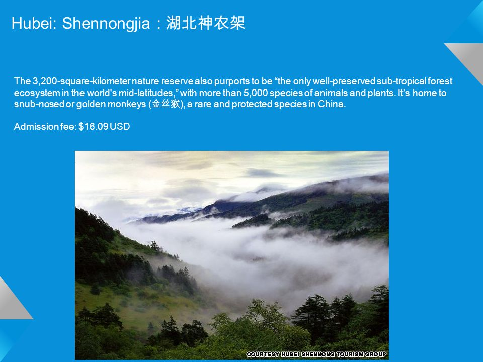 Hubei: Shennongjia : 湖北神农架 The 3,200-square-kilometer nature reserve also purports to be the only well-preserved sub-tropical forest ecosystem in the world s mid-latitudes, with more than 5,000 species of animals and plants.