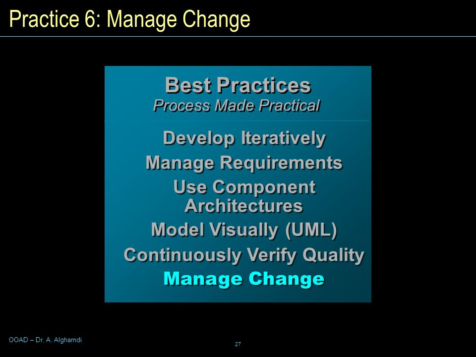 27 OOAD – Dr. A. Alghamdi Practice 6: Manage Change Best Practices Process Made Practical Best Practices Process Made Practical Develop Iteratively Ma