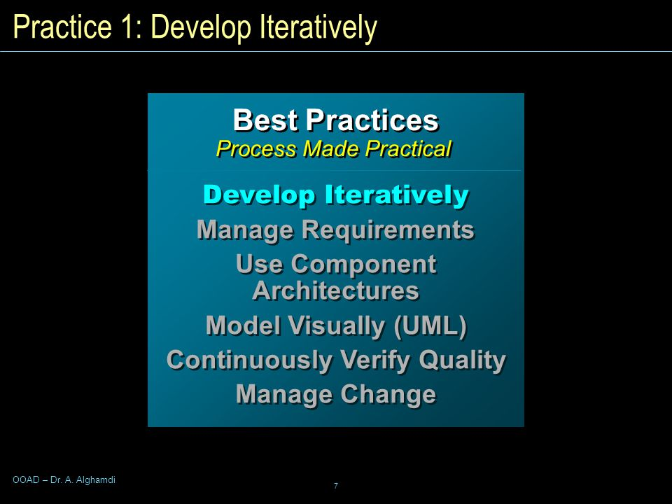 7 OOAD – Dr. A. Alghamdi Best Practices Process Made Practical Best Practices Process Made Practical Develop Iteratively Manage Requirements Use Compo