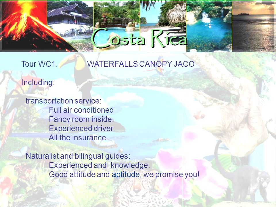 Tour WC1. WATERFALLS CANOPY JACO Including: transportation service: Full air conditioned Fancy room inside. Experienced driver. All the insurance. Nat