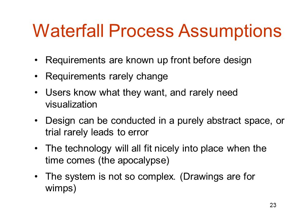 23 Waterfall Process Assumptions Requirements are known up front before design Requirements rarely change Users know what they want, and rarely need visualization Design can be conducted in a purely abstract space, or trial rarely leads to error The technology will all fit nicely into place when the time comes (the apocalypse) The system is not so complex.