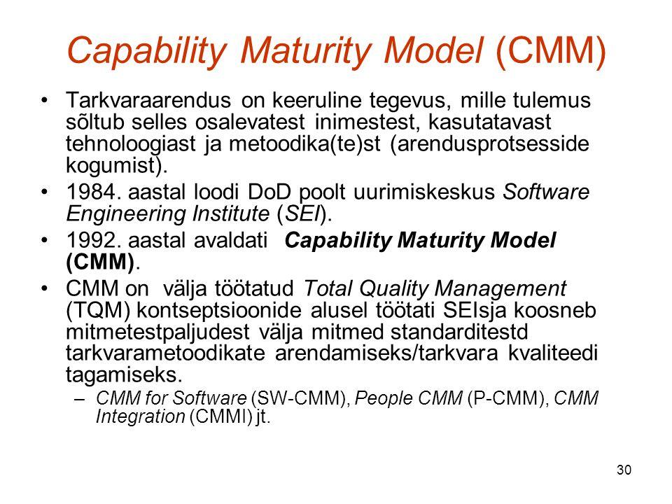 30 Capability Maturity Model (CMM) Tarkvaraarendus on keeruline tegevus, mille tulemus sõltub selles osalevatest inimestest, kasutatavast tehnoloogiast ja metoodika(te)st (arendusprotsesside kogumist).