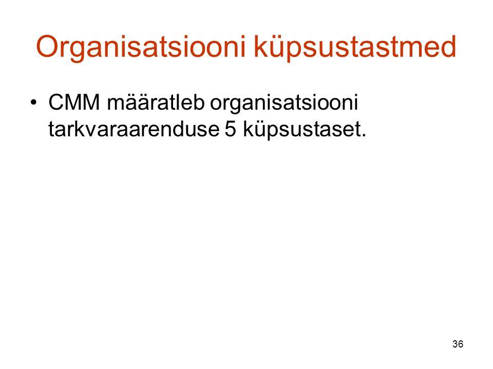 36 Organisatsiooni küpsustastmed CMM määratleb organisatsiooni tarkvaraarenduse 5 küpsustaset.