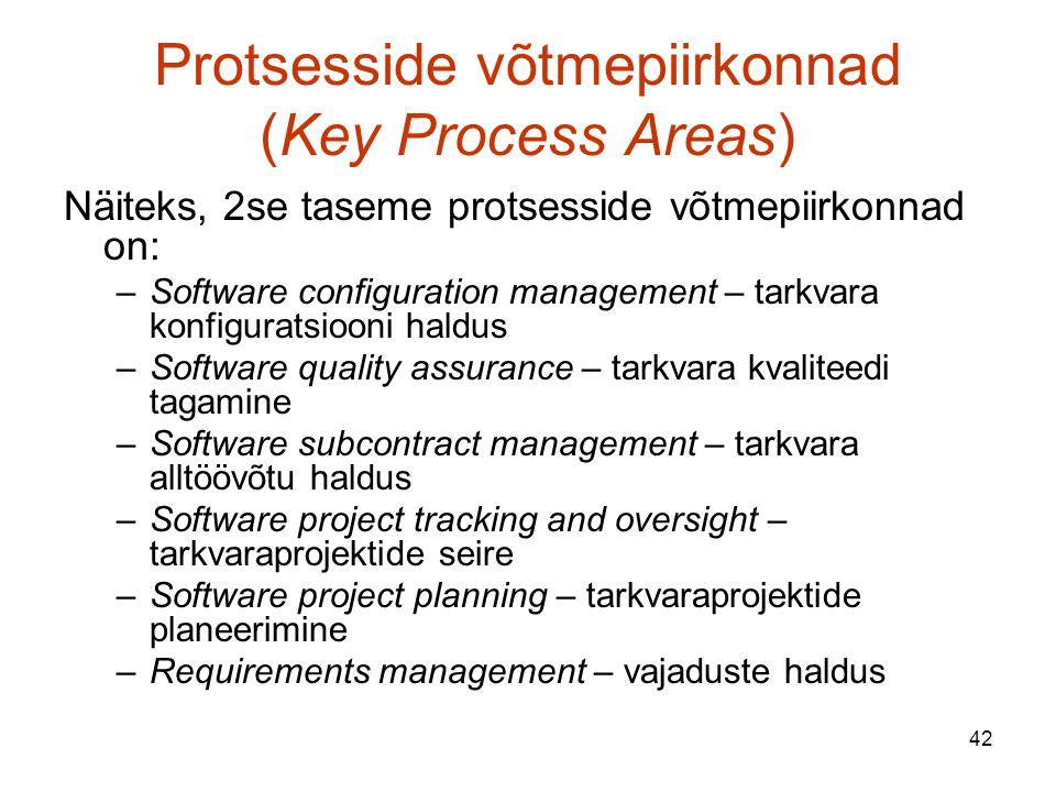 42 Protsesside võtmepiirkonnad (Key Process Areas) Näiteks, 2se taseme protsesside võtmepiirkonnad on: –Software configuration management – tarkvara konfiguratsiooni haldus –Software quality assurance – tarkvara kvaliteedi tagamine –Software subcontract management – tarkvara alltöövõtu haldus –Software project tracking and oversight – tarkvaraprojektide seire –Software project planning – tarkvaraprojektide planeerimine –Requirements management – vajaduste haldus