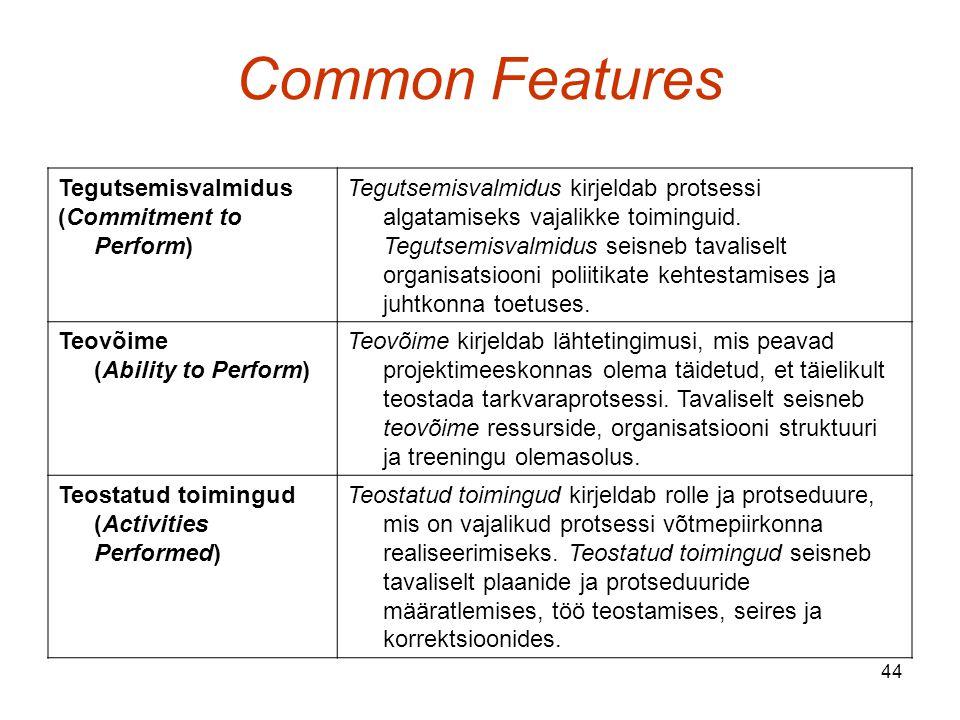 44 Common Features Tegutsemisvalmidus (Commitment to Perform) Tegutsemisvalmidus kirjeldab protsessi algatamiseks vajalikke toiminguid.