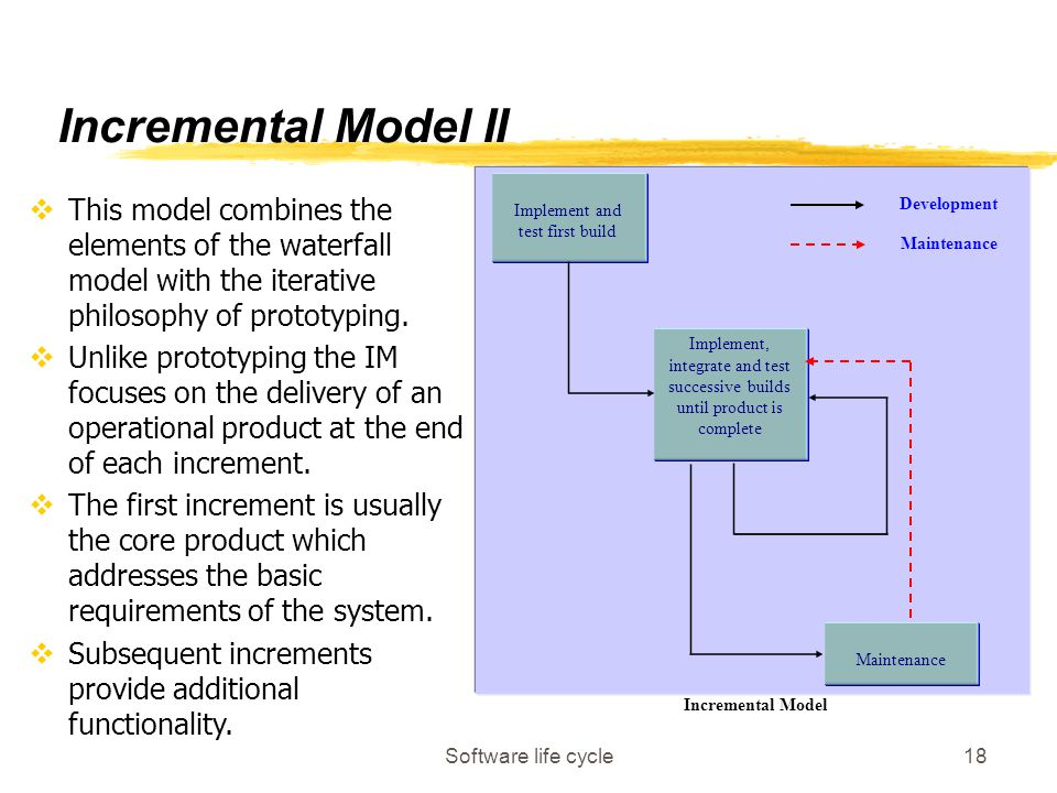 Software life cycle18 Implement and test first build Implement, integrate and test successive builds until product is complete Maintenance Development Maintenance Incremental Model vThis model combines the elements of the waterfall model with the iterative philosophy of prototyping.