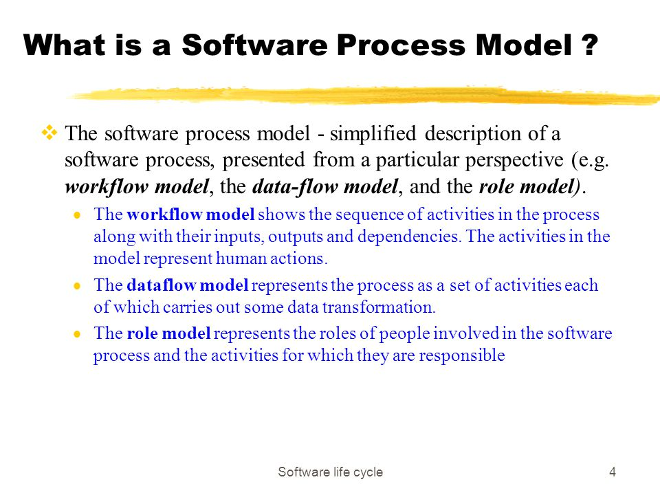 Software life cycle4 What is a Software Process Model .