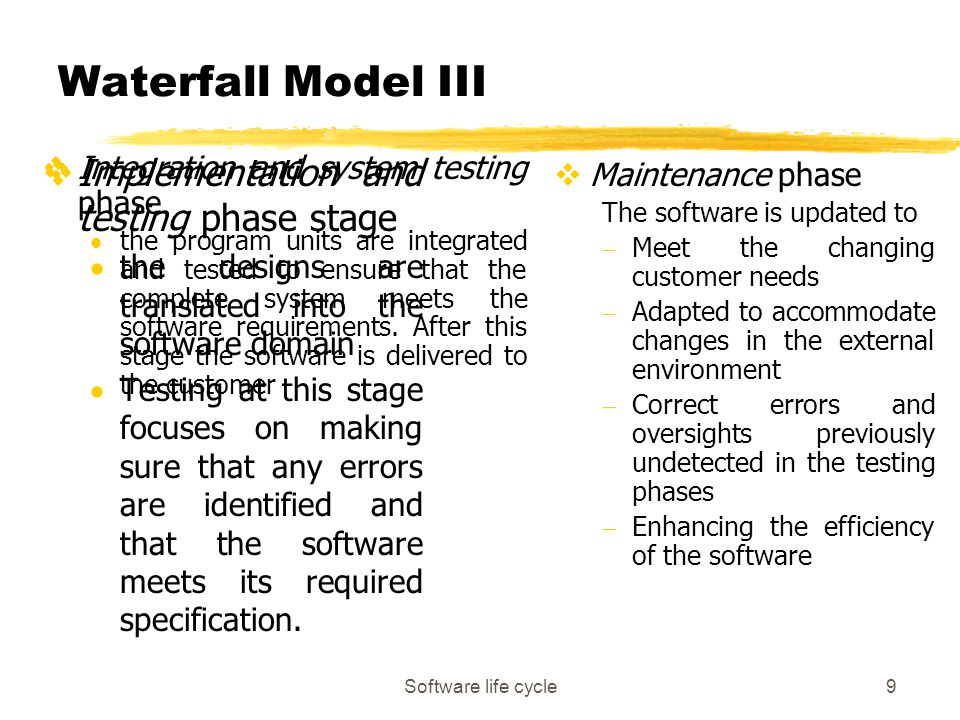 Software life cycle9 Waterfall Model III vImplementation and testing phase stage  the designs are translated into the software domain  Testing at th