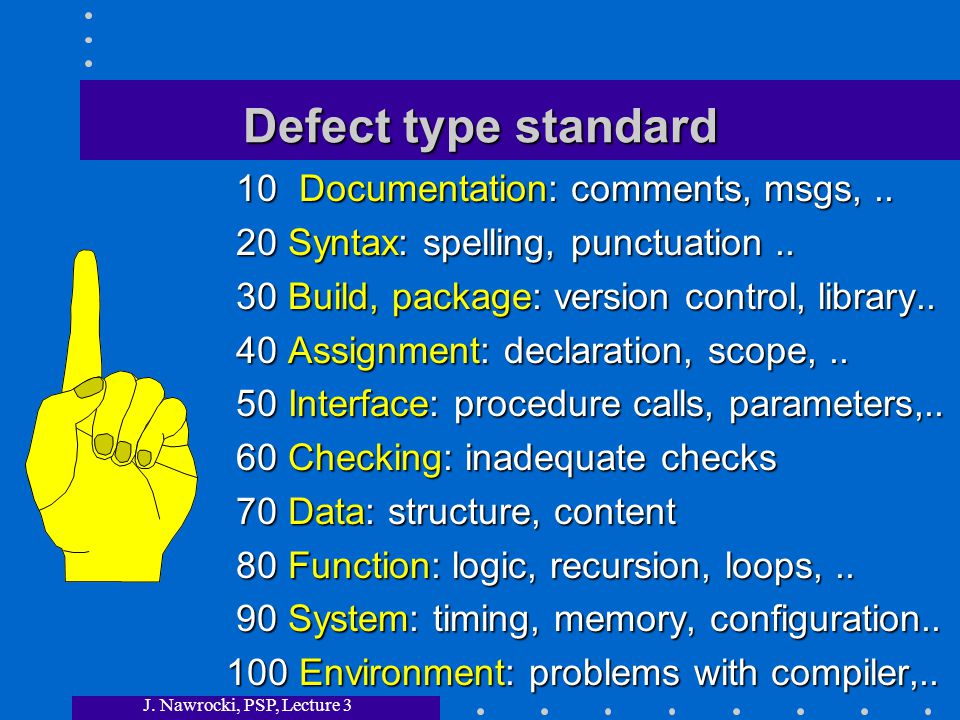 J. Nawrocki, PSP, Lecture 3 Defect type standard 10 Documentation: comments, msgs,..