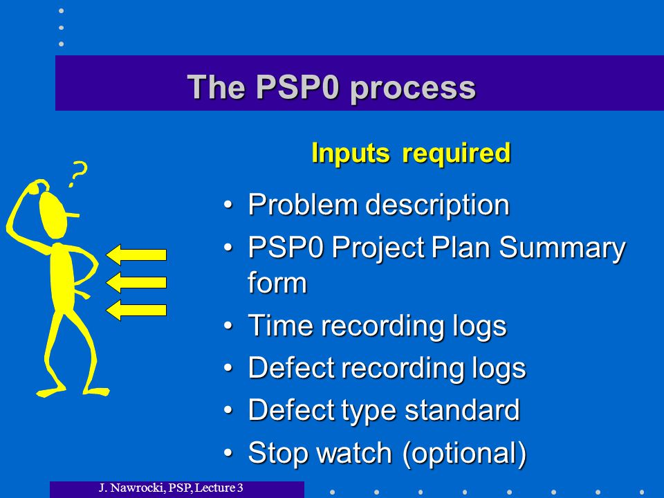 J. Nawrocki, PSP, Lecture 3 The PSP0 process Problem description PSP0 Project Plan Summary form Time recording logs Defect recording logs Defect type