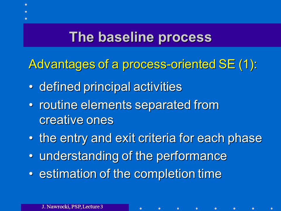 J. Nawrocki, PSP, Lecture 3 The baseline process defined principal activitiesdefined principal activities routine elements separated from creative one
