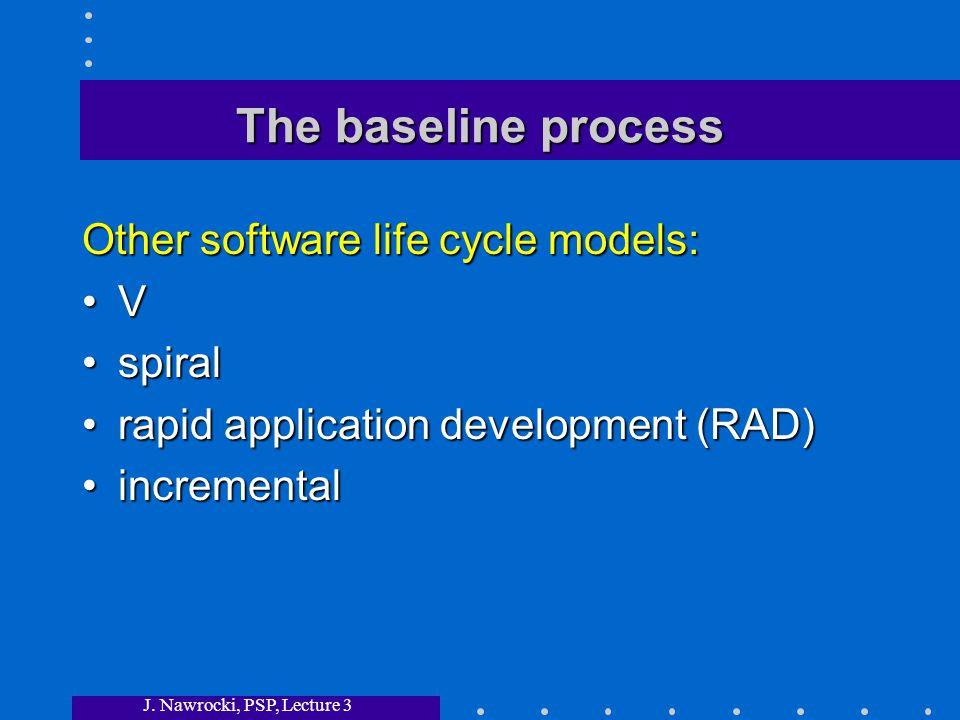 J. Nawrocki, PSP, Lecture 3 The baseline process Other software life cycle models: V spiralspiral rapid application development (RAD)rapid application