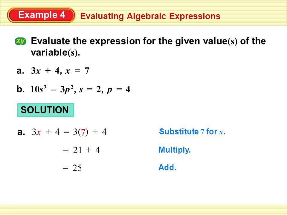Example 4 Evaluating Algebraic Expressions – b.