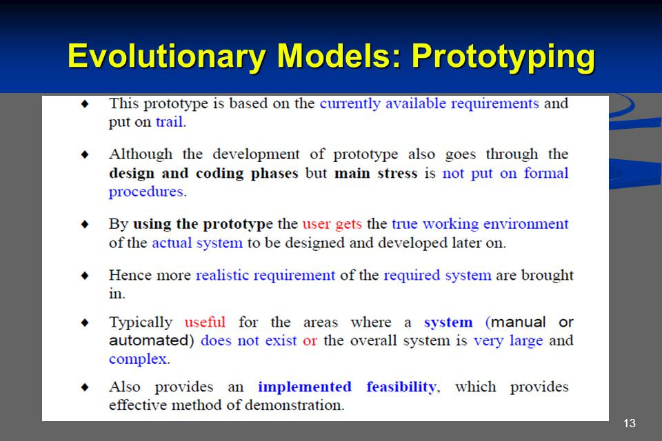Evolutionary Models: Prototyping 13