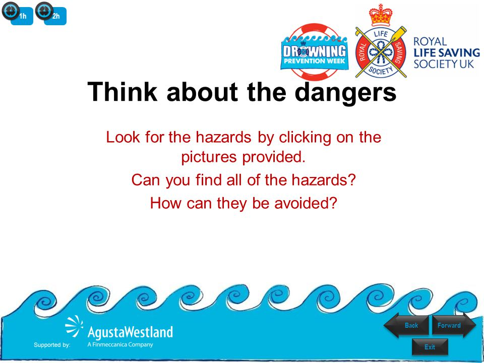 Think about the dangers Look for the hazards by clicking on the pictures provided.
