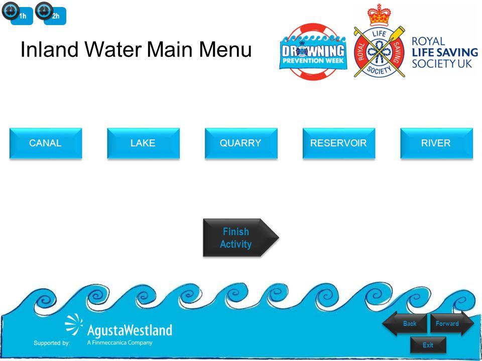 LAKE QUARRY RESERVOIR RIVER CANAL Menu Finish Activity Finish Activity Inland Water Main Menu 1h2h Forward Back Exit