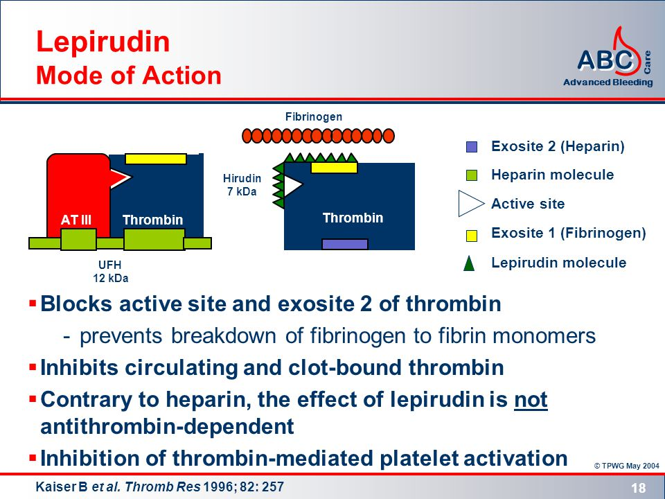 © TPWG May 2004 ABC Advanced Bleeding Care 18 Lepirudin Mode of Action  Blocks active site and exosite 2 of thrombin -prevents breakdown of fibrinogen to fibrin monomers  Inhibits circulating and clot-bound thrombin  Contrary to heparin, the effect of lepirudin is not antithrombin-dependent  Inhibition of thrombin-mediated platelet activation Kaiser B et al.