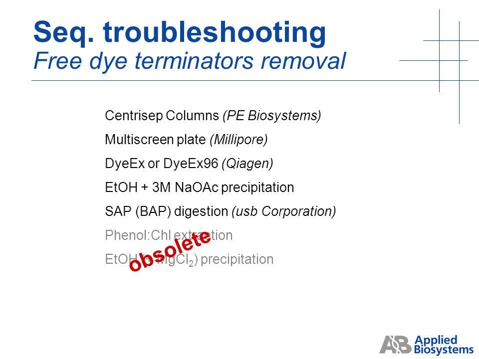 free dye blobs Seq. troubleshooting Dye terminators contamination