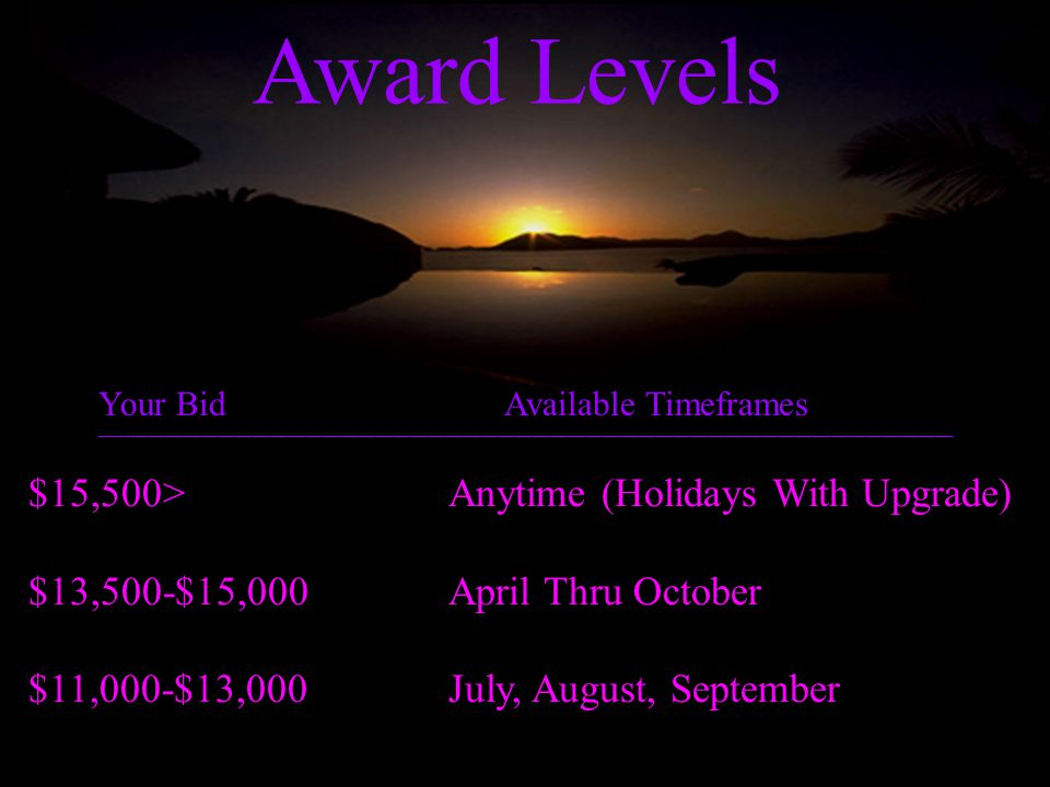 Award Levels $15,500>Anytime (Holidays With Upgrade) $13,500-$15,000April Thru October $11,000-$13,000July, August, September Your Bid Available Timef
