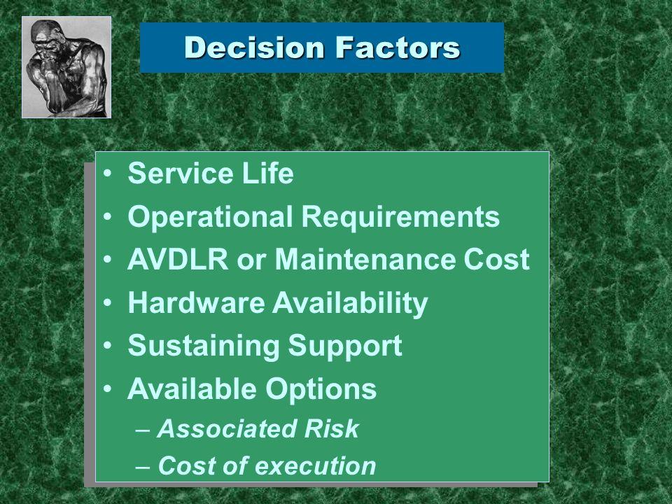 -Service Life Decision Factors: -Service Life