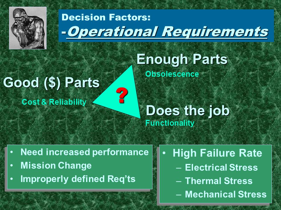 Resources: Board-Level Redesign Good OptionGood Option –Multiple obsolescence problem –Board wear-out –Functionality changes (mission) RiskRisk –All All interfaces properly defined Linear over operating temperatures Throughput –Probable TPS/Software changes
