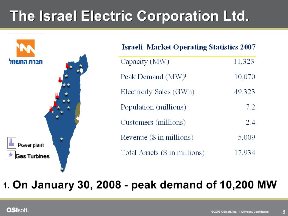 8 © 2008 OSIsoft, Inc. | Company Confidential The Israel Electric Corporation Ltd. Power plant Gas Turbines 1. On January 30, 2008 - peak demand of 10